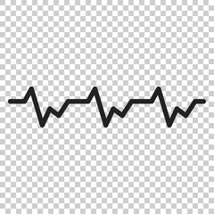 Heartbeat icon in flat style. Heartbeat illustration on isolated transparent background. Heart rhythm concept.