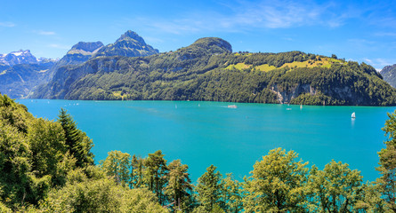 Panorama Seelisberg am Vierwalstätter See mit der Rütliwiese