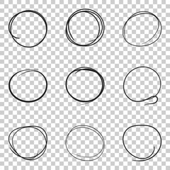 Set of the hand drawn scribble circles line sketch. Vector circular scribble doodle round element. Pencil sketch illustration on isolated transparent background.