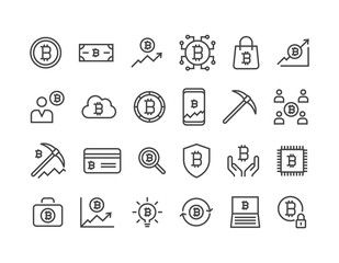Set of Bitcoin Crypto currency icons Editable Stroke. 48x48 Pixel Perfect