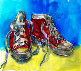 Watercolor hand draw illustration of sneaker