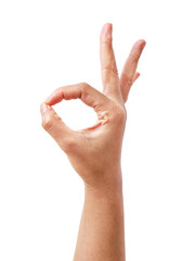 Woman hand in ok sign on a white isolated background.