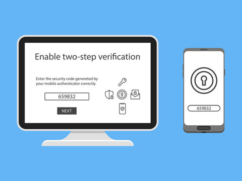 Two factor authentication with phone email security key and password login. Vector illustration muti factor authentication concept