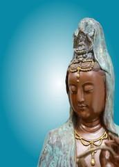 Quan Yin or Guan Yin or Guan Yim  Chinese Goddess of Mercy, Image of Buddha Chinese art on blue background