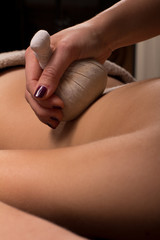 Detail of back massage woman