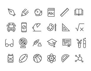 Set of School icons Editable Stroke. 48x48 Pixel Perfect