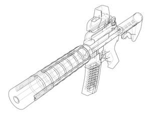 Machine Gun. Vector