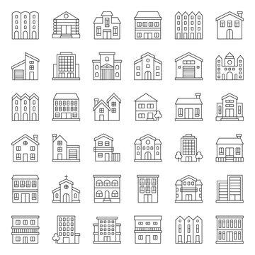 building construction vector outline icon set 2/3