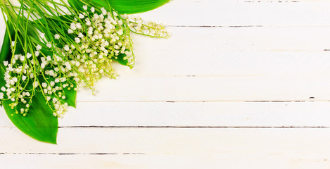 Lily of the valley flowers on white wooden background with copy space