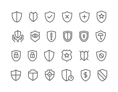 Set of Shield Safe Icons Protection Editable Stroke.48x48 Pixel Perfect.
