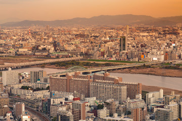 Osaka residence downtown aerial view with mountain background, Japan cityscape background