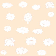 pink square Wallpaper with clouds-sheep