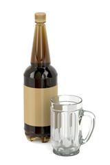 Empty mug and beer bottle
