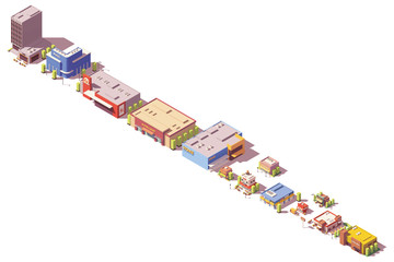 Vector low poly isometric stores and restaurants