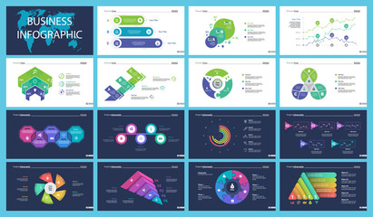 Set of strategy or analysis concept infographic charts