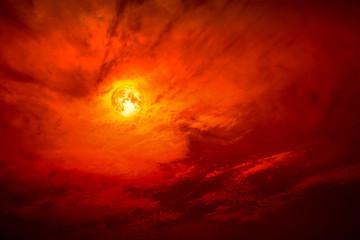 full blood moon silhouette dark red cloud in night red sky