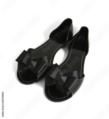 42f54449c03 A pair of fancy stylish black woman summer shoe with ribbon bow ...