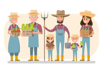 happy farmer family cartoon character in organic rural farm.