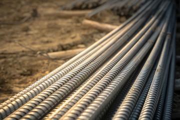 Construction rebar steel work reinforcement in conncrete structure of building