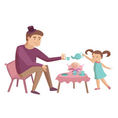 Dad with daughter cartoon illustration