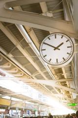 Clock at subway train station.