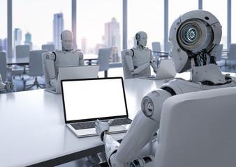 robot work on notebook