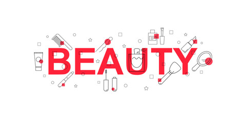 Beauty vector banner. Word with line icon. Vector background