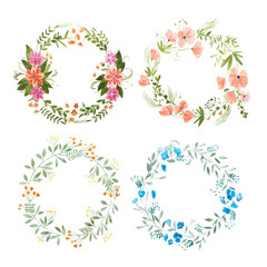 Aquarelle painting of floral wreath made of wild flowers isolated on white background
