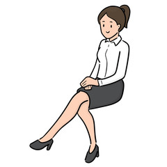vector of woman sitting