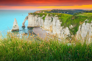 Amazing natural rock arch wonder, Etretat, Normandy, France