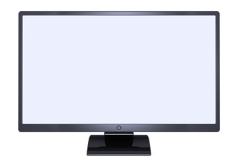 Monitor computer flat screen wide blank desktop LCD TV presentation display black. 3d illustration isolated