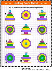 Math visual puzzle or picture riddle with colorful wooden ring stacking toys: Try to find the top view for every ring stacker. Answer included.