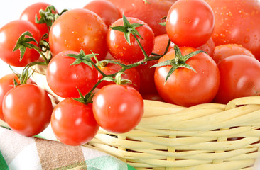 Many tomatoes in the basket.