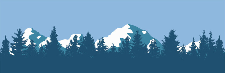 vector pine forest and mountain silhouettes