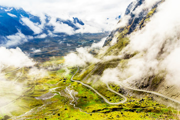 Foggy mountain landscape and starting point of the death road in Bolivia