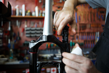 Photo of workshop for fixing bicycle frame.