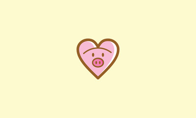 pet, cute, funny, heart, pig emblem symbol icon vector logo