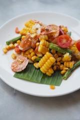 Thai Papaya Salad salted egg with Corn Shrimp Tomato Organic Food