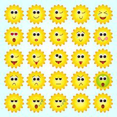 Set of Sun, Sunflowers Emoticons. Set of Emoji.