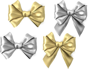 Gold and silver realistic satin bows isolated on white.