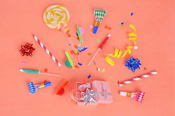 Colorful party frame with birthday objets
