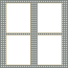 Four white paper sheets with blank space for text on grid background.
