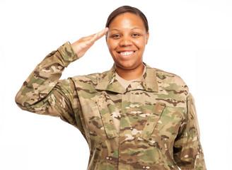 Female soldier in multicam uniform saluting.