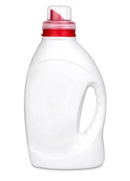 3d model of white plastic bottle of liquid for washing machine isolated on white background