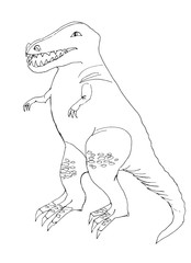 Outline drawing of a dinosaur