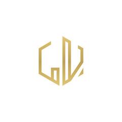 Initial letter LV, minimalist line art hexagon shape logo, gold color