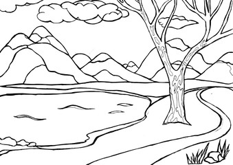 Contour drawing of landscape with mountains, lake and tree