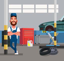 Auto mechanic man worker holding wrench. Car repair diagnostics service garage. Vector flat graphic design cartoon isolated illustration