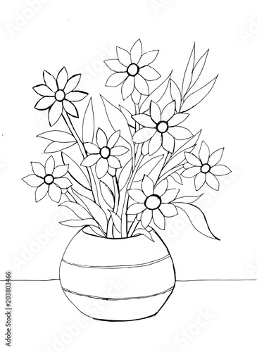 Contour Drawing Of Flowers In A Vase Stock Image And Royalty Free