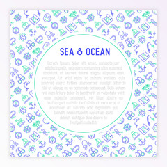 Sea and ocean journey concept with thin line icons: sailboat, fishing, ship, oysters, anchor, octopus, compass, steering wheel, snorkel. Modern vector illustration for banner, print media template.